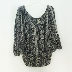 Forever 21 Cream & Black Tribal Pattern Tunic Top